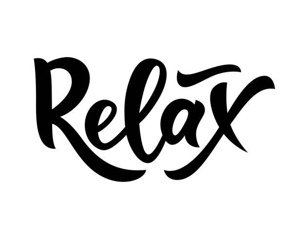 手寫字母單詞放鬆。孤立。勵志式的報價。向量 - 鬆弛 幅插畫檔、美工圖案、卡通及圖標