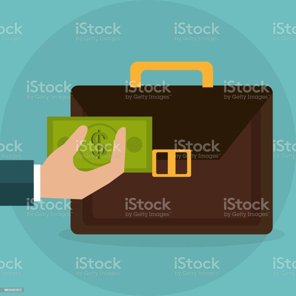 mão levantamento carteira com notas de dólares dinheiro - Vetor de Antiguidades royalty-free