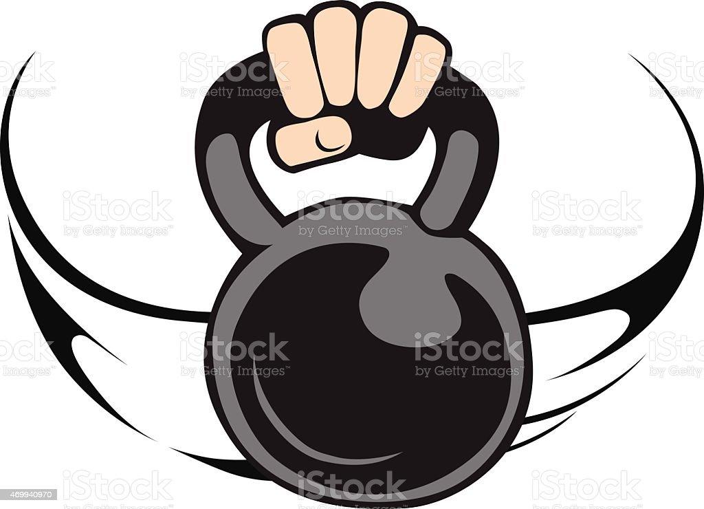 Hand lifting the kattlebell. vector art illustration