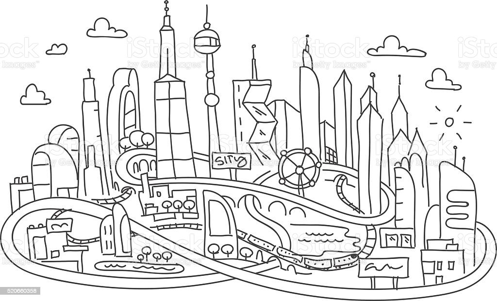 Hand Line Drawing Futuristic City Architecture Stock Vector Art