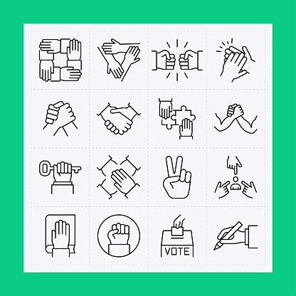 Hand line icon set. Editable Stroke