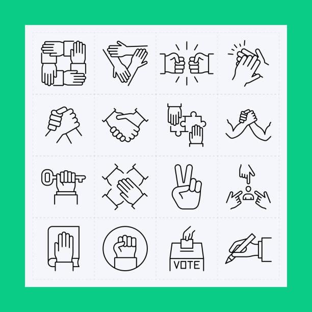 Hand line icon set. Editable Stroke Hand line icon set. Editable Stroke collaboration stock illustrations