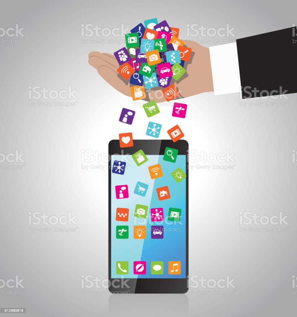 Hand loads and installs apps in smartphone vector art illustration