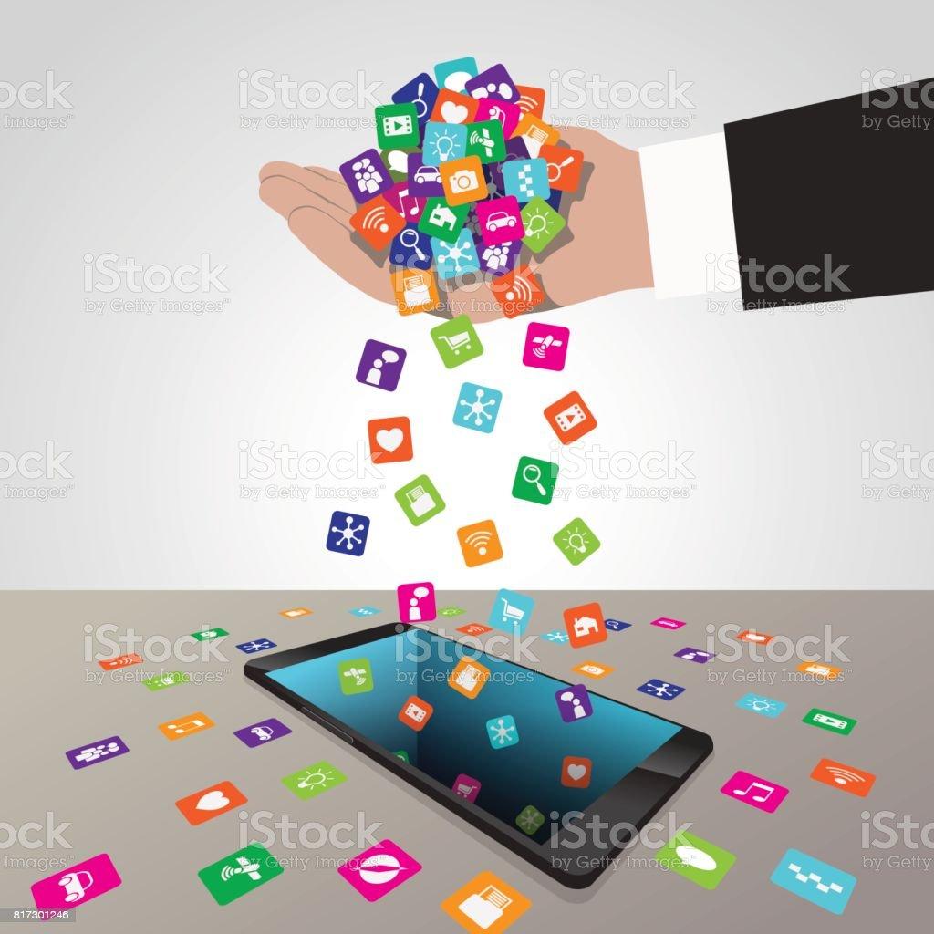 Hand Loads And Installs Apps In Smartphone Stock Vector Art
