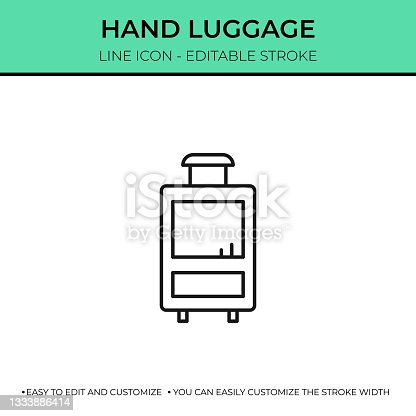istock Hand Luggage Single Line Icon 1333886414