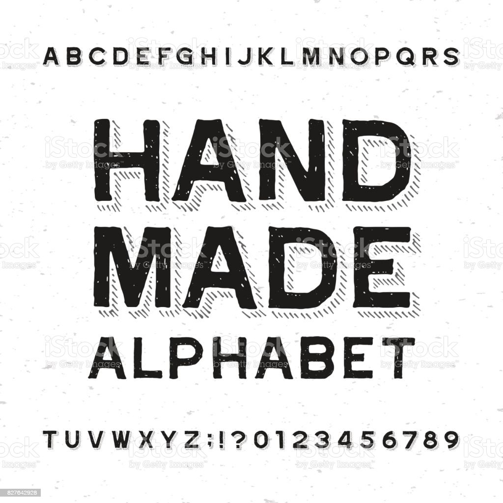 Hand Made Alphabet Font Distressed Vintage Letters And Numbers Royalty Free