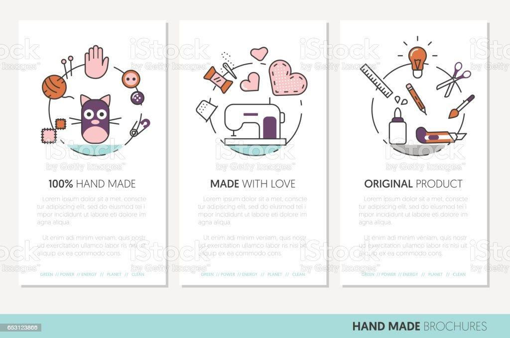 Hand Made Business Brochure. Sewing Linear vector art illustration
