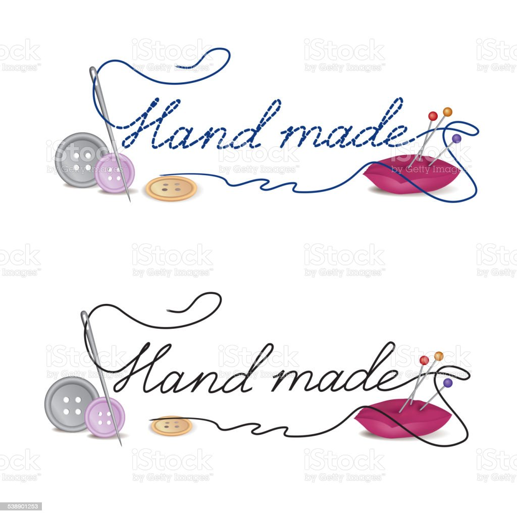 Hand made cloth label. Sewing accessories banner. vector art illustration
