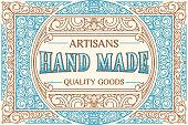 istock Hand made goods - vintage decorative ornate label design 1289522475