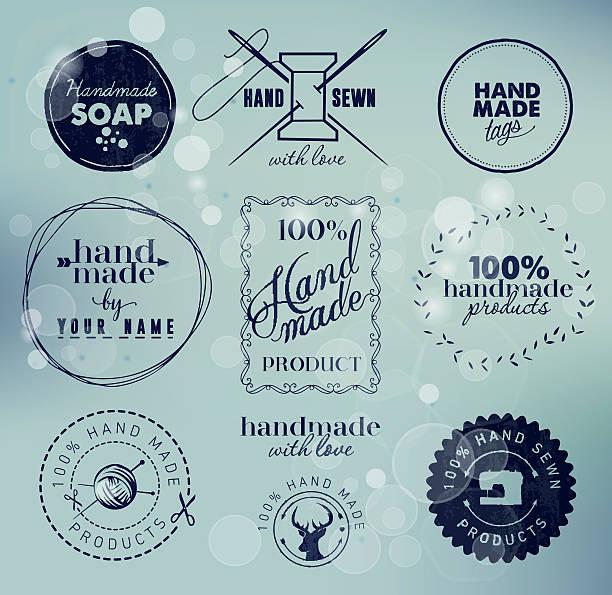 handgefertigte etiketten, abzeichen und design-elemente im vintage-stil - hausgemacht stock-grafiken, -clipart, -cartoons und -symbole