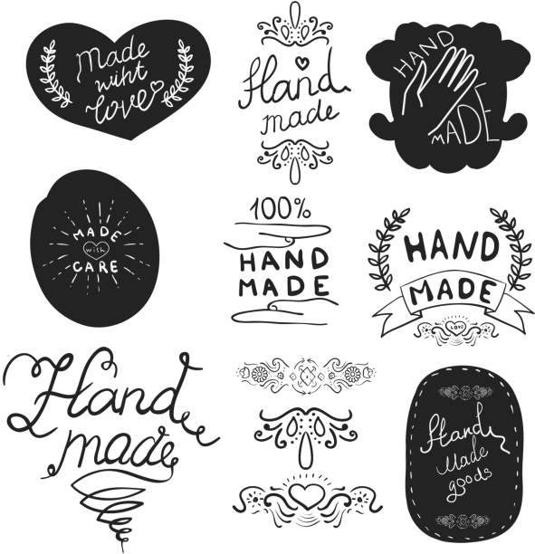 handgefertigte label vorlage. - hausgemacht stock-grafiken, -clipart, -cartoons und -symbole