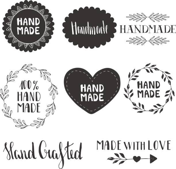 handgemachte etiketten. vektor. hand gezeichnet. - hausgemacht stock-grafiken, -clipart, -cartoons und -symbole