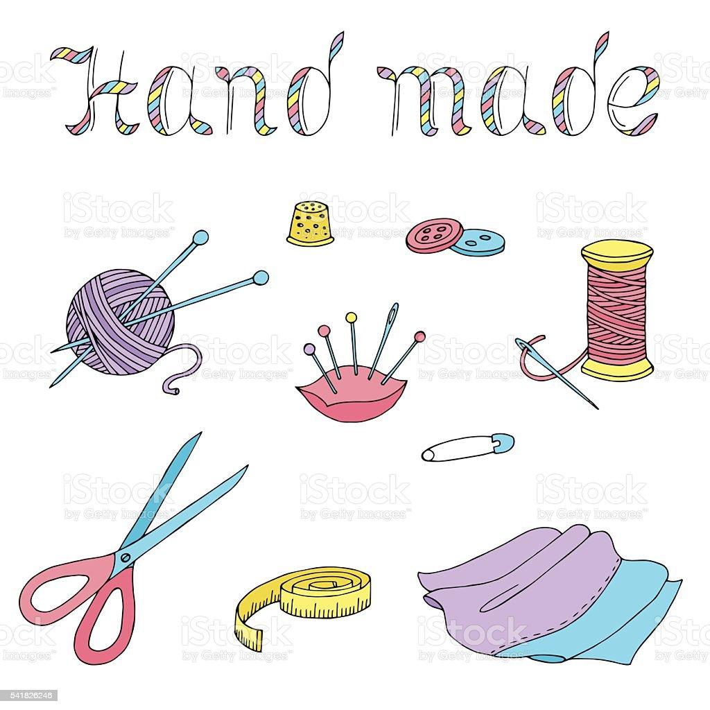 ハンドメイドの手芸グラフィックアートの絶縁セットベクトルイラスト