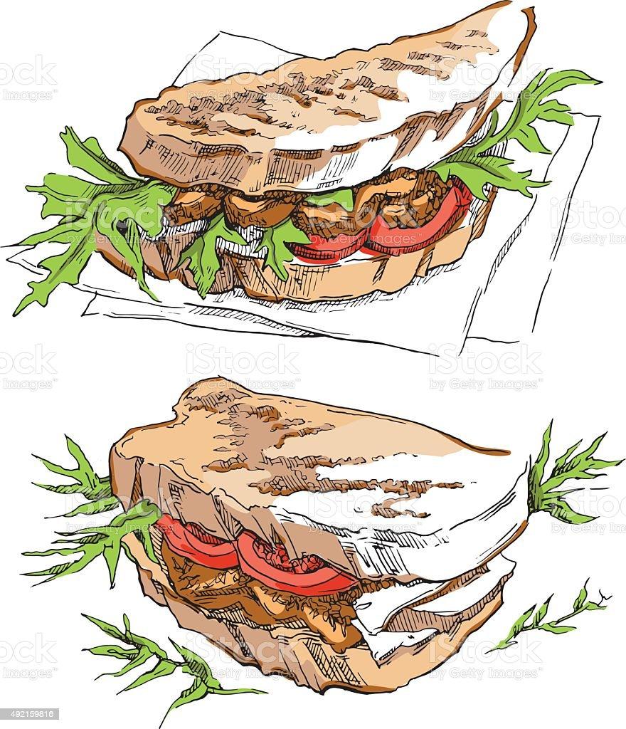 Hand made vector sketch of sandwich. vector art illustration