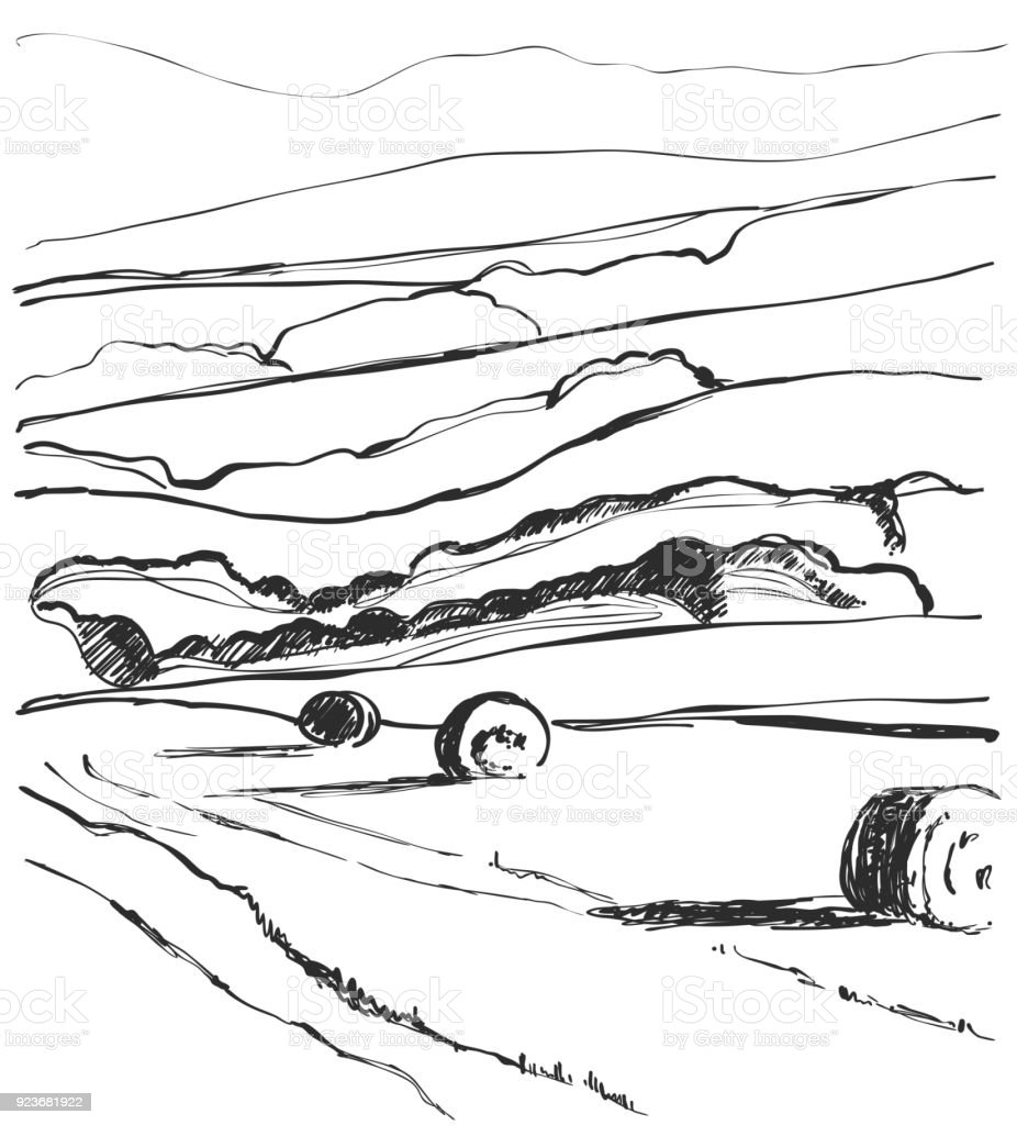 Hand Made Vector Sketching Landscape Fields Harvest Agricultural ...