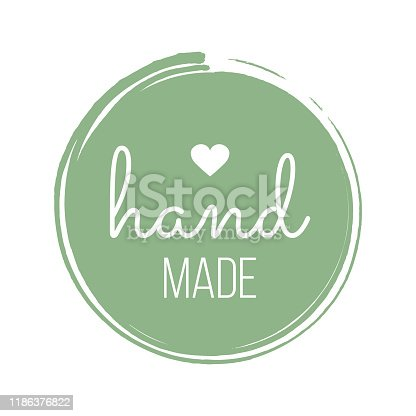 istock Hand Made with Love inscription lettering quote. Made with Love calligraphy. Made with Love card. Vector illustration 1186376822