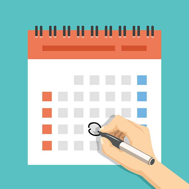 hand mark kalender. us-version mit woche begann am sonntag - monatskalender stock-grafiken, -clipart, -cartoons und -symbole