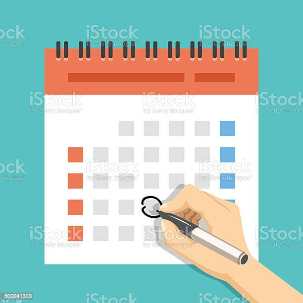 Hand Mark Calendar Us Version With Week Started On Sunday Stock Illustration - Download Image Now