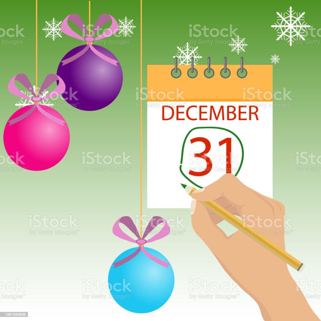 Marca Calendario.Ilustracion De Mano Marca El Ano Nuevo En El Calendario En La Pared