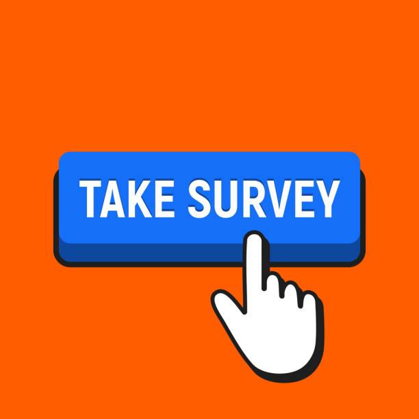Hand Mouse Cursor Clicks the Take Survey Button. Hand Mouse Cursor Clicks the Take Survey Button. Pointer Push Press Button Concept. survey stock illustrations