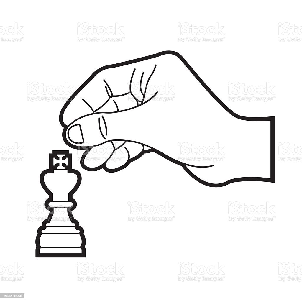 Hand Moving Chess Piece King In Black Stock Vector Art ...