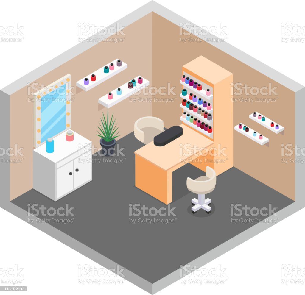 Hand nail care manicure services room isometric design vector...
