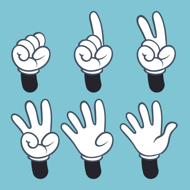 Hand numbers. Cartoon hands people in glove, sign language palm two three one four finger count, vector illustration Hand numbers. Cartoon hands people in glove, sign language palm two three one four finger count, vector abstract illustration set counting stock illustrations