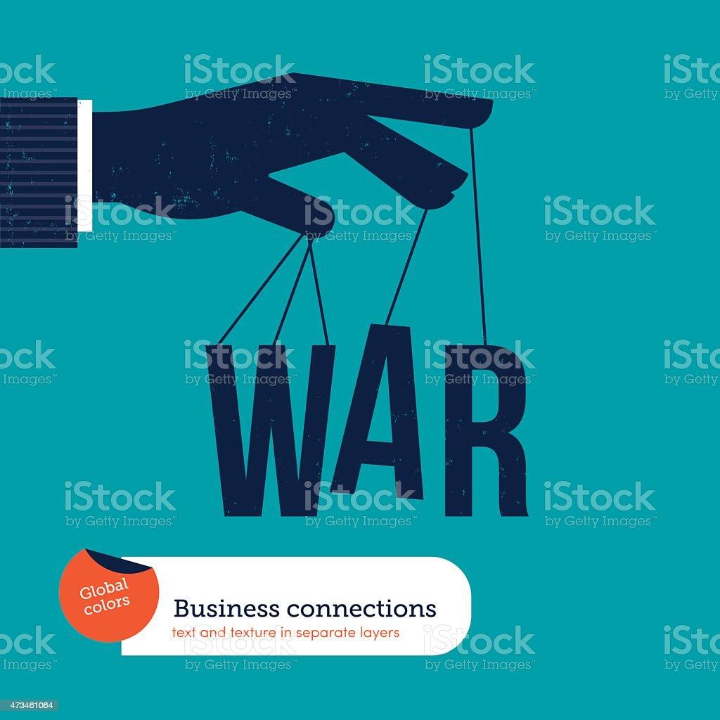 Hand of a businessman controlling the war vector art illustration