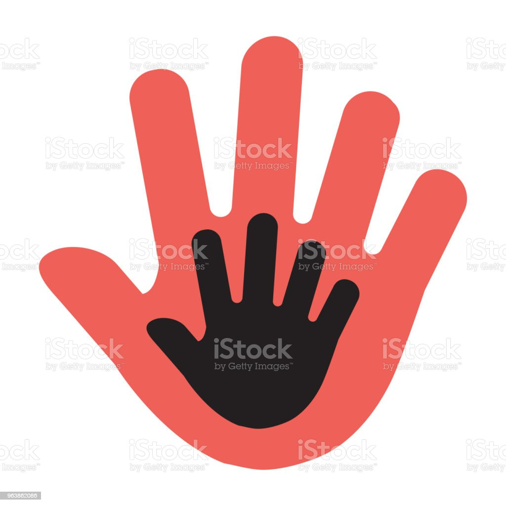 Hand of a child in an adult hand, red and black illustration. Vector - Royalty-free Adult stock vector