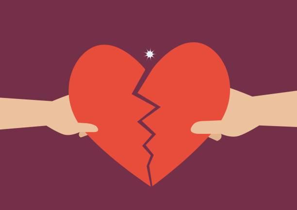 stockillustraties, clipart, cartoons en iconen met hand van een man en vrouw die hartsymbool uit elkaar scheuren - liefdesverdriet