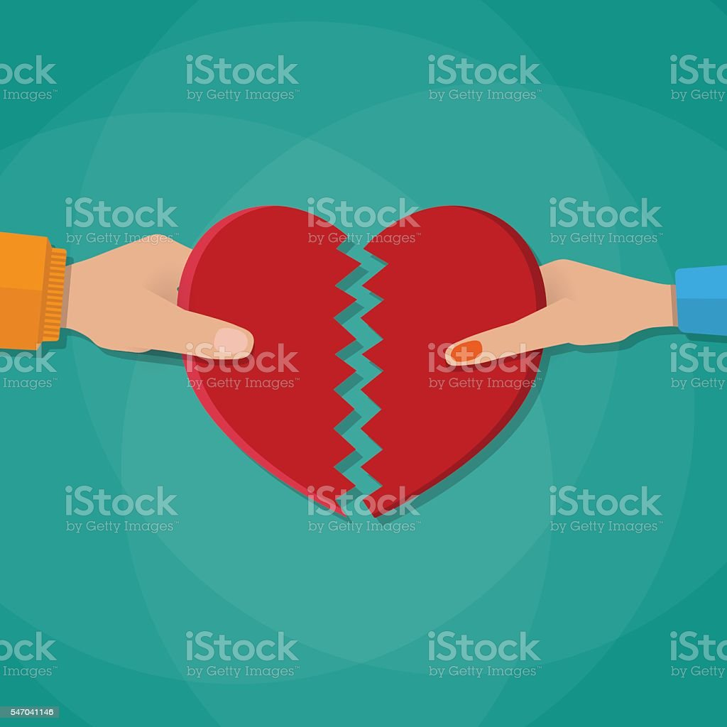 Hand of a man and woman tearing apart heart vector art illustration