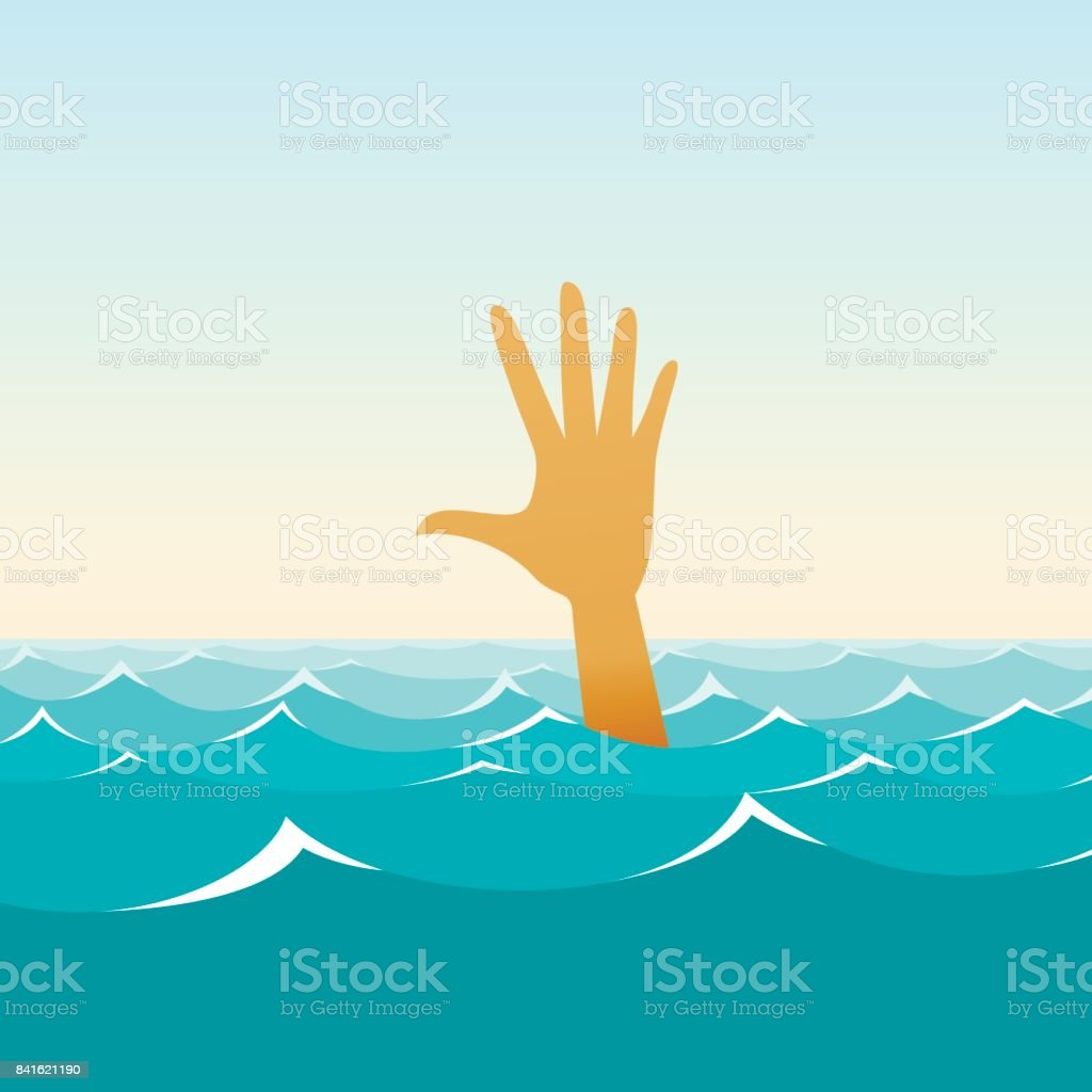 Hand of a sinking man in the midst of waves illustration