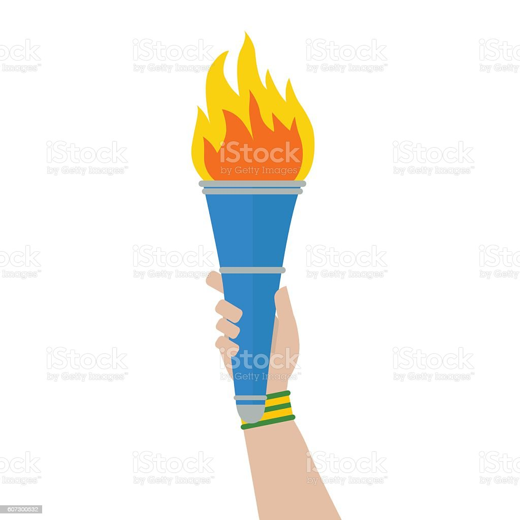 Hand Of Athlete Wearing Brazil Colors Sweatband Holding Sport Torch ... for Sports Torch With Hand  29dqh