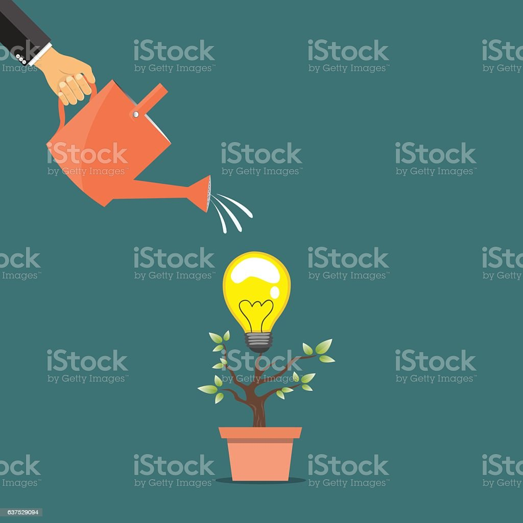 Hand of business person watering idea tree. vector art illustration