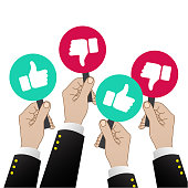 Hand of businessman, many hands with thumbs up and and thump down feedback. Vector illustration