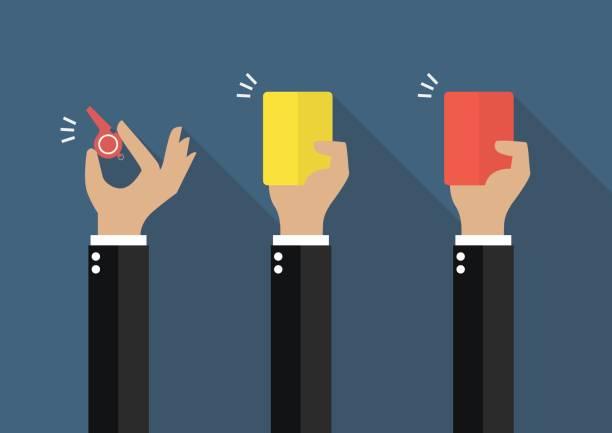 Mão do empresário, mostrando um apito, cartão amarelo e cartão vermelho - ilustração de arte em vetor
