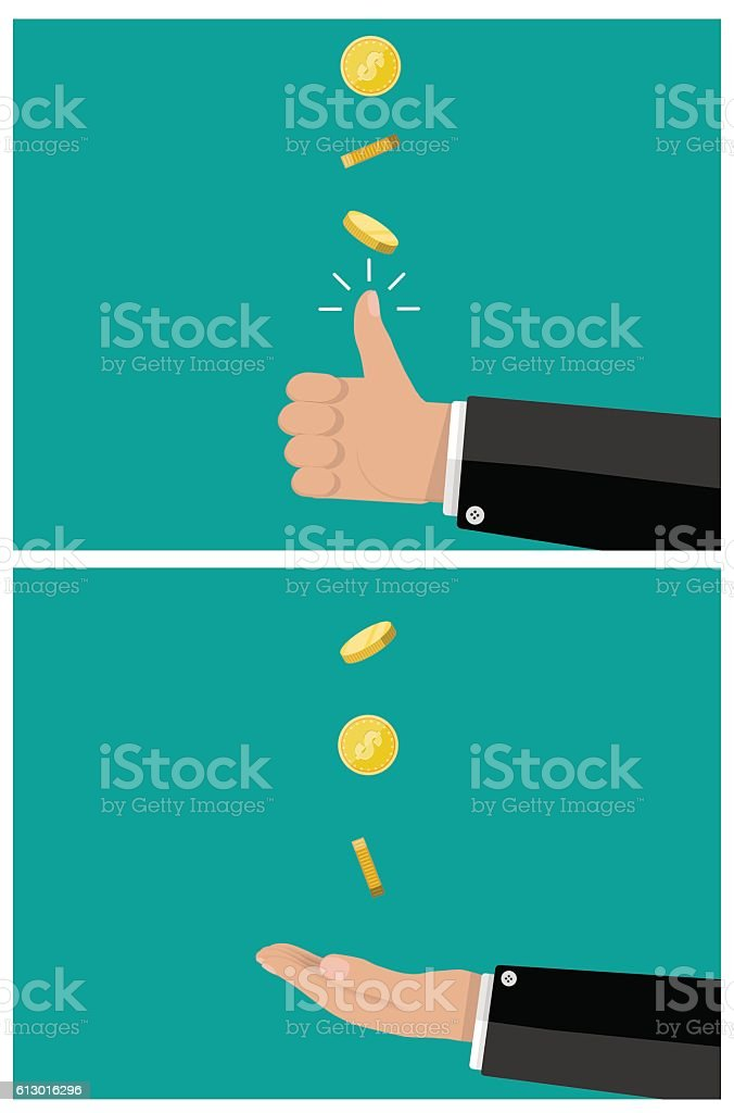 hand of businessman tossing and catches a coin vector art illustration