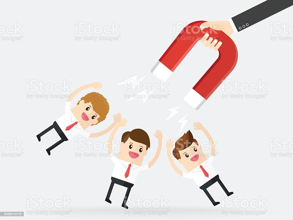 hand of businessman using magnet attract customers and clients vector art illustration