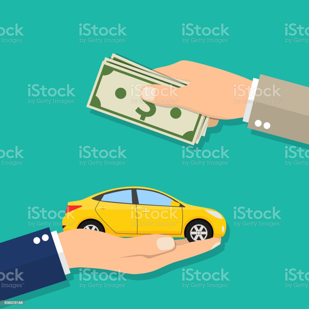 Hand of businessman with money buying a car vector art illustration