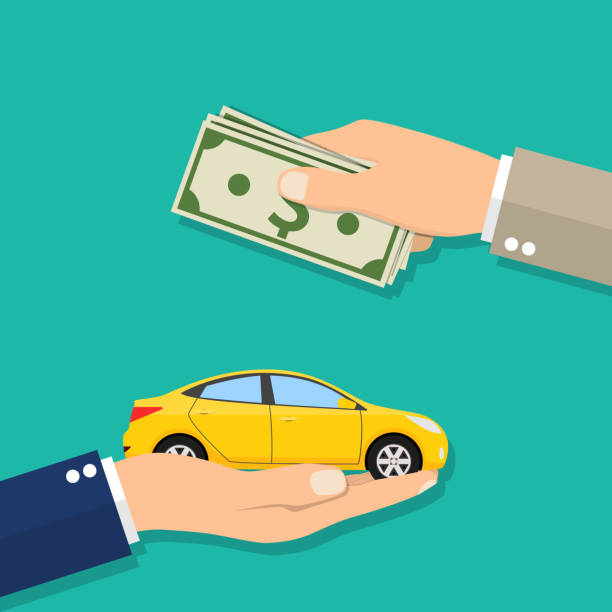 hand of businessman with money buying a car - dollar bill stock illustrations