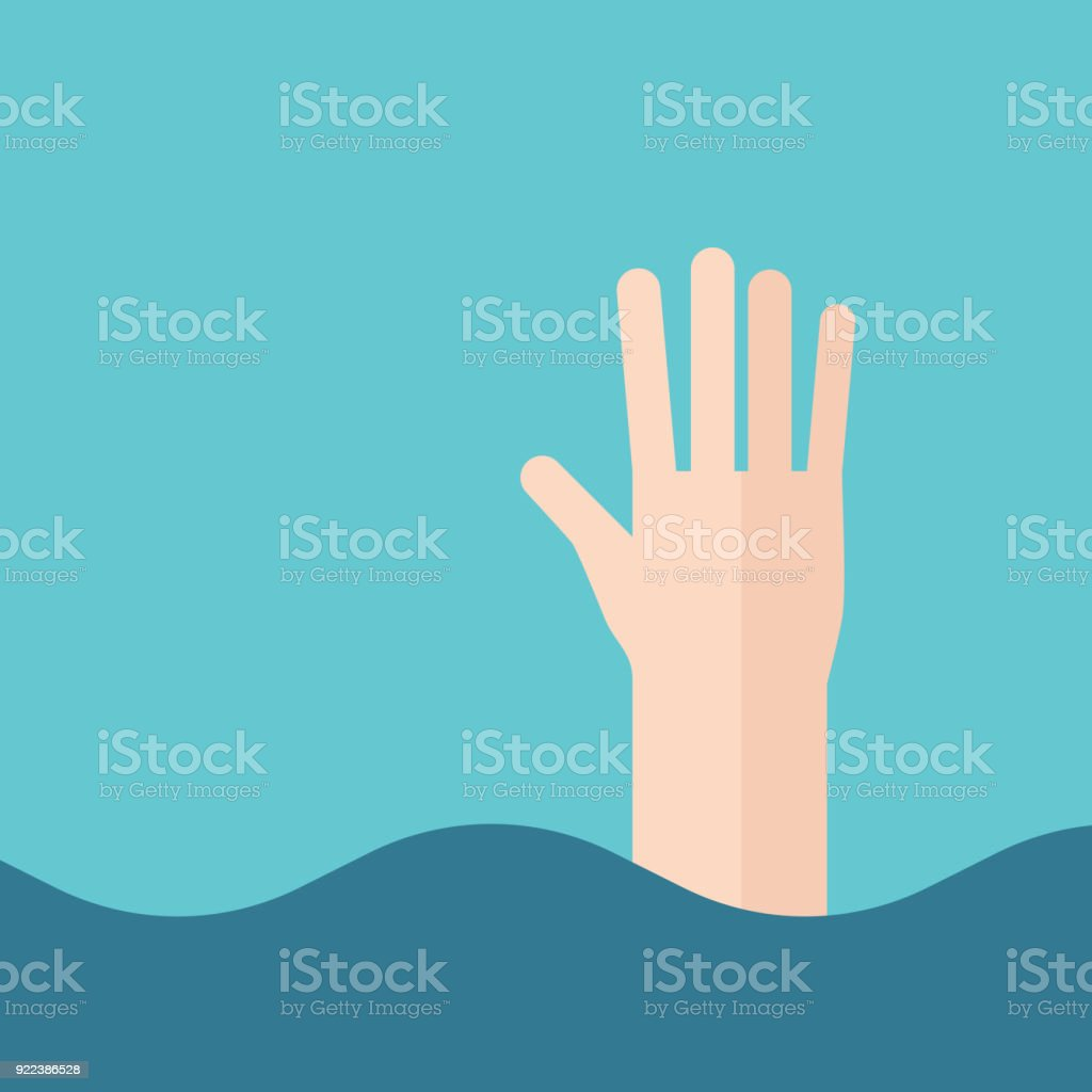 Hand des Ertrinkens Mann – Vektorgrafik