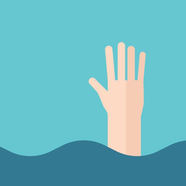 ilustrações de stock, clip art, desenhos animados e ícones de hand of drowning man - swim arms