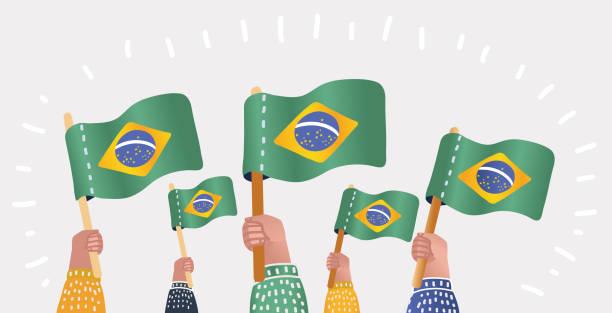 bildbanksillustrationer, clip art samt tecknat material och ikoner med hand av fans med flaggan i brasilien - brasilien flagga