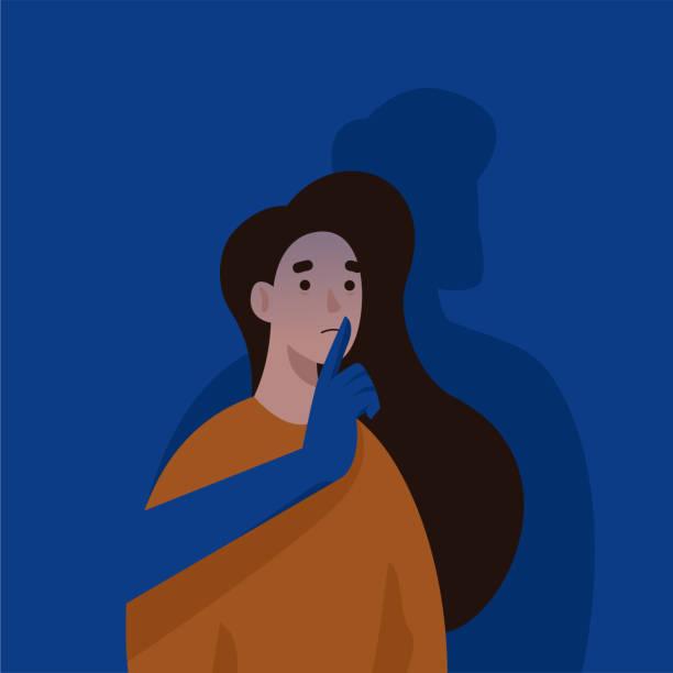 ilustraciones, imágenes clip art, dibujos animados e iconos de stock de mano de hombre cubriendo la boca de la mujer. violencia doméstica y abusa. - dureza