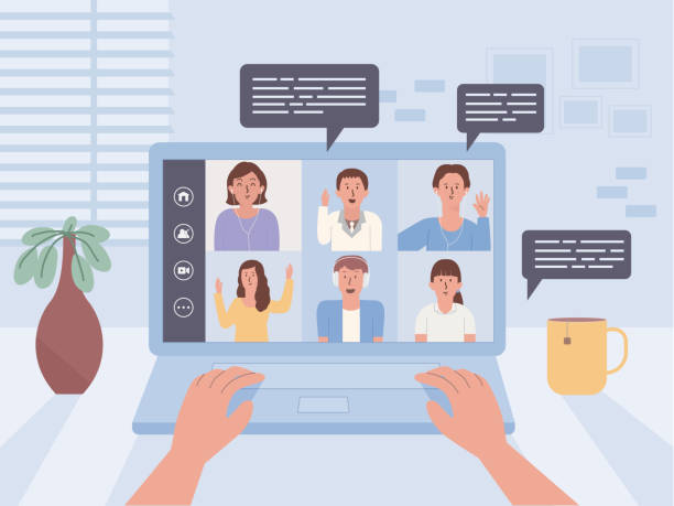 Hand of people using laptop on a table for connect other people in video conference. Online meeting with communication technology. vector art illustration