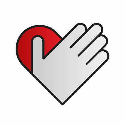 Hand on heart symbol design. Vector illustration of abstract red heart with hand over it isolated on white background