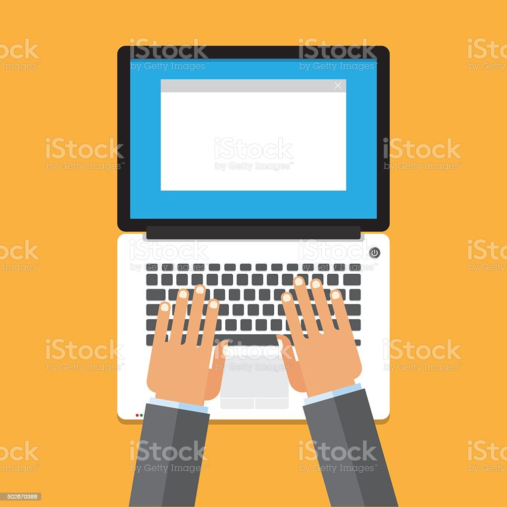 Hand on laptop keyboard with blank screen monitor vector art illustration
