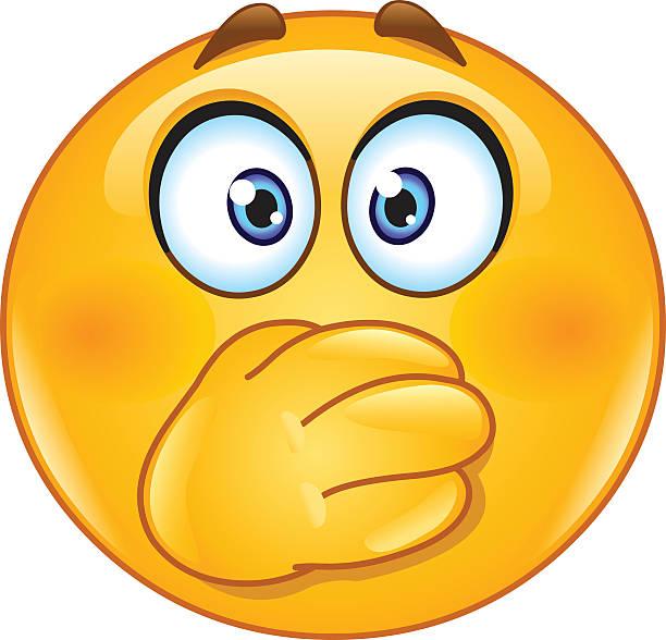 hand am mund emoticon - verwirrtes emoji stock-grafiken, -clipart, -cartoons und -symbole