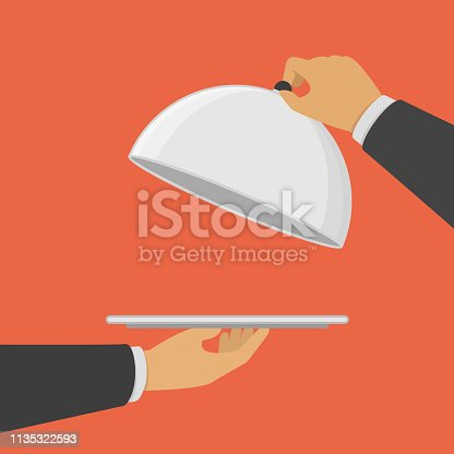 Hands holding empty silver tray and cloche. Restaurant plate in hand the waiter. Food serving tray. Vector illustration in modern flat style. EPS 10.