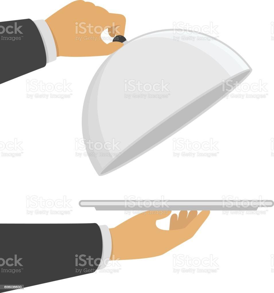 Hand opening silver cloche. vector art illustration